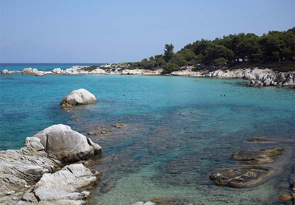 Kavourotrypes beach in Sithonia
